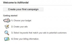 Picture of Adwords account after sign in